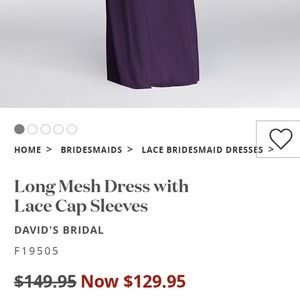 David's Bridal Dresses - David's Bridal long lace Cap sleeves